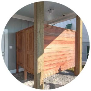 exotic hardwood outdoor shower - Simmons Custom Cabinetry & Millwork Inc.