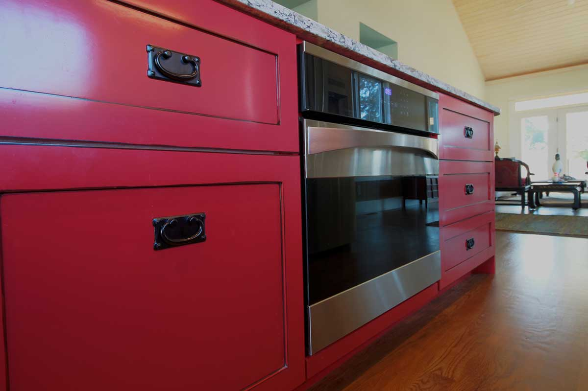 Prime Design Custom Cabinetry Millwork ~ Statement red with an espresso glaze simmons custom